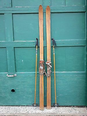 """INTERESTING OLD Blond PATINA Skis 74"""" Long with Metal Bindings with Bamboo Poles"""