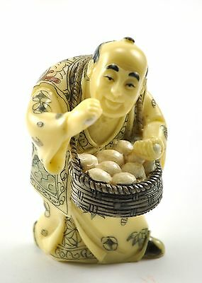 Vintage Chinese Man Selling Egg Business Resin Handcrafted Statue Figurine