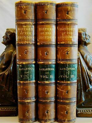 De Lamartine. History of the Girondists. 3vols 1854 Illustrated Half Calf