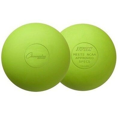 New Champion 2 Pack Official Rubber Lacrosse Balls NFHS NCAA Approved Lime Green