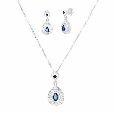 18k White Gold Sterling Silver CZ Pearl Earring and Pendant Set