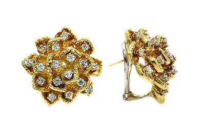 1.70 Ct Diamond Accent With 18K Yellow Gold Stud Earrings Floral Style