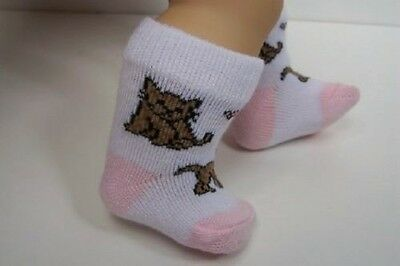 Kitty Cat Kitten Pink Brown Socks Doll Clothes For Bitty Baby Girl Twin (Debs)