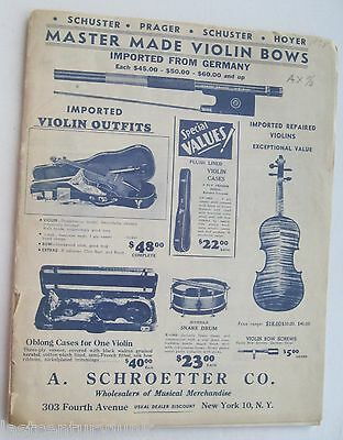 Catalog For A. Schroetter Co. Wholesalers Of Musical Merchandise 1938