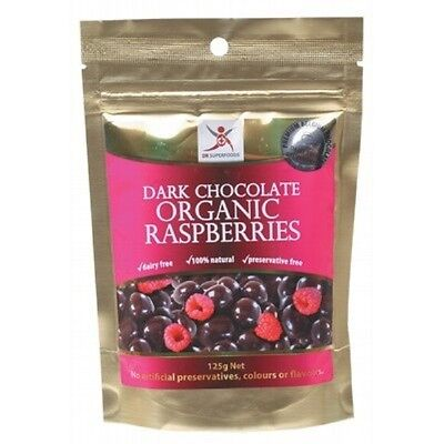 DR SUPERFOODS Dark Chocolate Organic Raspberries - 125g