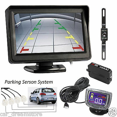 "EHOTCH 5"" Car Monitor Camera LCD Display 4 White Sensors Alarm Buzzer System Kit"