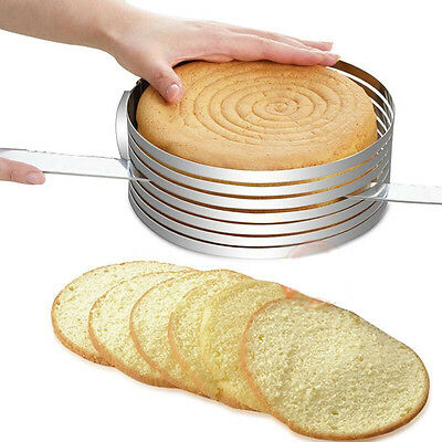 Size Adjustable Pan Baking Mould Cake Ring round sliceable Stainless Steel