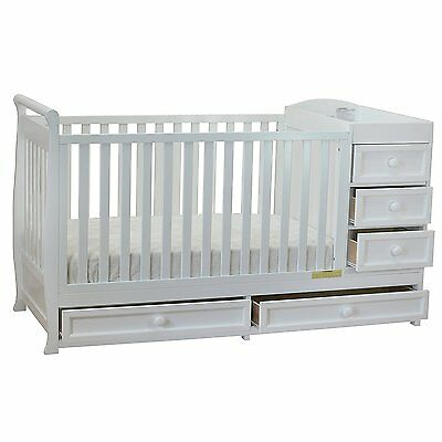 AFG Furniture Athena Daphne 2-in-1 Crib & Changer Combo in White, 661W New