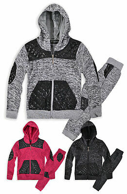 Boys Girls Faux Leather Hooded Tracksuit New Kids Unisex Joggers Hoodie 1-5 Yrs