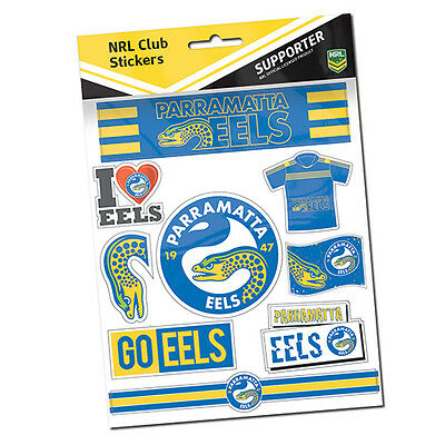 Official NRL Parramatta Eels Deluxe Club Stickers Sticker Sheet Pack