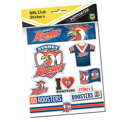 Official NRL Sydney Roosters Deluxe Club Stickers Sticker Sheet Pack