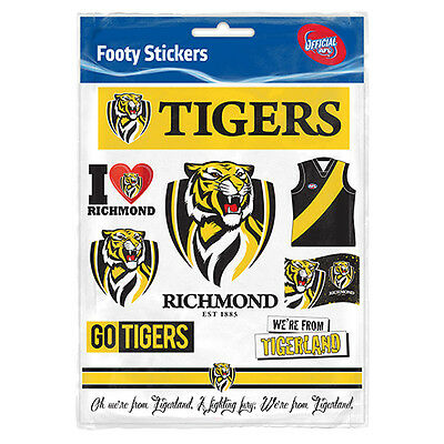 Official AFL Richmond Tigers Footy Stickers Sticker Sheet Pack