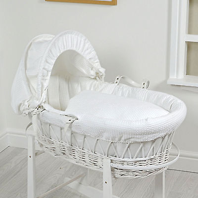 New 4Baby White Waffle Padded White Wicker Baby Moses Basket With Mattress
