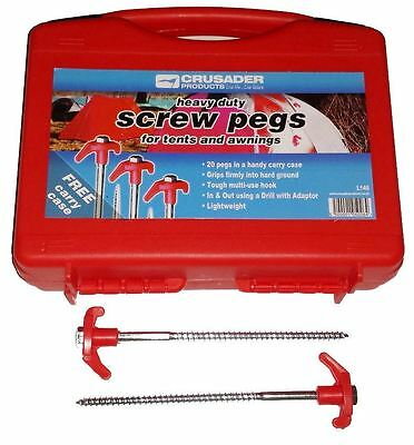 Crusader 20 x Heavy Duty Hard Ground Pro Tent/Awning/Caravan Peg Screw Pegs