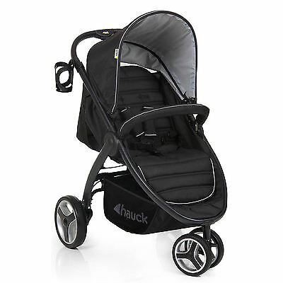 New Hauck Black Lift Up 3 Pushchair Stroller From Birth Baby Jogger Buggy