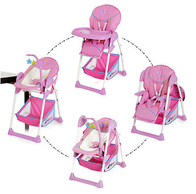 New Hauck  Butterfly Pink Sit N Relax 2 In 1 Highchair Baby High Chair / Bouncer