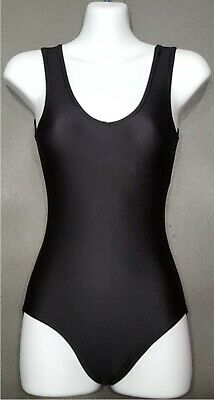 Girls Ladies Black Lycra Spandex Sleeveless Ballet Dance Leotard (swimsuit) (CC)