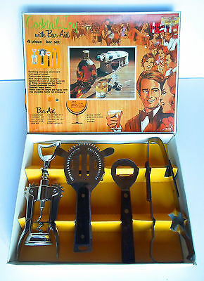 Vintage Bar Aid Stainless Steel 4 Piece Bar Set Cocktail Recipes On Box