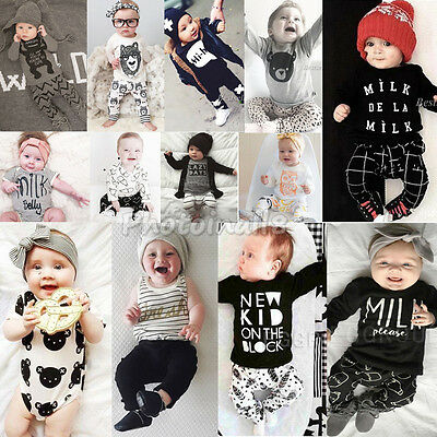 Various New 2pcs Newborn Baby Boys Girls Long Sleeve T-shirt +Pants Outfits Sets