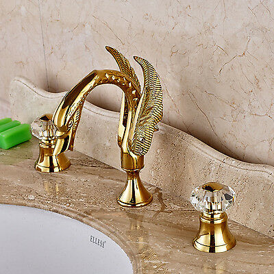 Crystal Knobs Swan Shape Spout Basin Faucet Widespread Sink Mixer Tap Gold Color