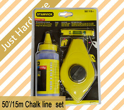 50' 15m 3pcs 110g Chalk Line Reel Set Level NEW High Quality