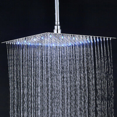 Shower Head 16 Inch Led Chrome Square Rain Sprayer Ultrathin Heads