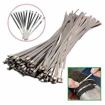 100PCS 4.6x300mm Stainless Steel Exhaust Wrap Coated Locking Cable Zip Ties