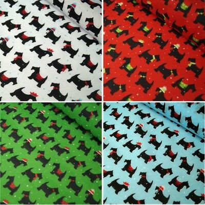 Polycotton Fabric Festive Pups Christmas Scottie Dogs Xmas