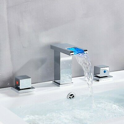 Deck Mount Dual Handles Led Waterfall Widespread Commercial Bathroom Sink Fauct