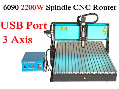 2200W 6090 3 Axis Mach3 USB Port CNC Engraver Router Engraving Carving Machine