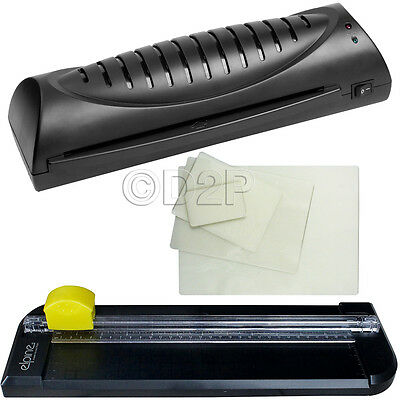 A4 Laminator Machine Trimmer Home Laminating Cutter Set + 50 Pouches 3 Blades