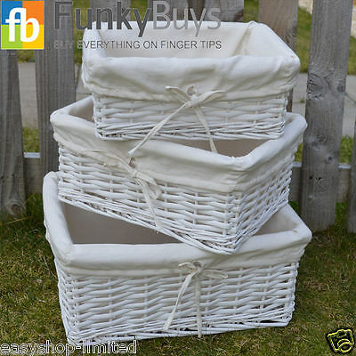 Wicker Storage Basket With Lining Xmas Gift Hamper In Small,Medium or Large