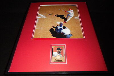 Ozzie Smith 16x20 Framed Game Used Bat & Photo Display Cardinals