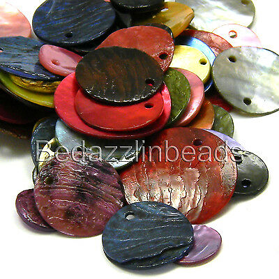 Lot of 100 Assorted Color & Size Flat Round Mussel Shell Coin Charms & Links