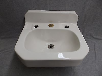 Vintage White Porcelain Ceramic Bathroom Wall Sink Old Case Plumbing 483-16