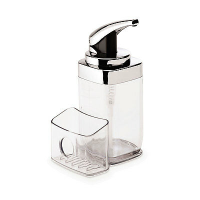 simplehuman clear square push soap dispenser with removable sponge caddy