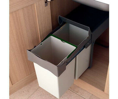 Double Pull Out Kitchen Recycling Waste Bin 28 litres Grey - For 300mm Unit