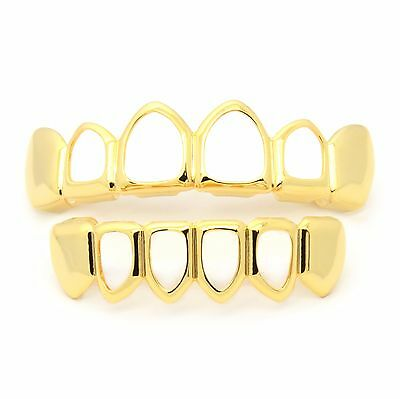 Men's 14K Gold Plated HIP HOP Hollow Top & Bottom Row HIGH QUALITY Teeth Grillz