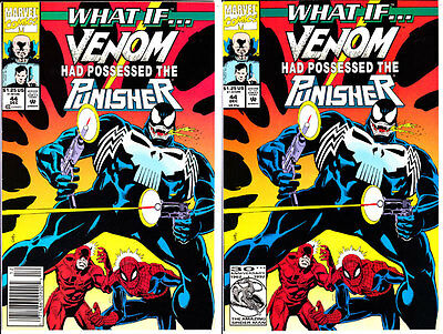 (2) Marvel Comics WHAT IF 1992 #44 Regular VF+ & Newsstand VF/NM Venom Punisher