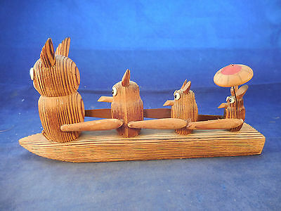 "Wooden Family Of Owls On A Raft Figure Korea 8 3/4"" By 4 1/4"""