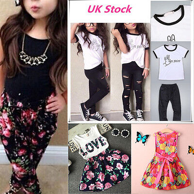 UK Stock Summer Baby Toddler Kids Girls Clothes Tops Pants Dress Outfits 1-8Y