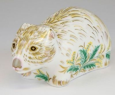 royal crown derby limited edition wombat paperweight england gold stopper