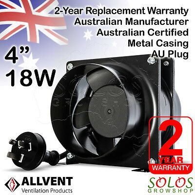"4"" 100mm HYDROPONIC INLINE EXHAUST FAN VENTILATION SILENT EXTRACTOR ALLVENT A40"