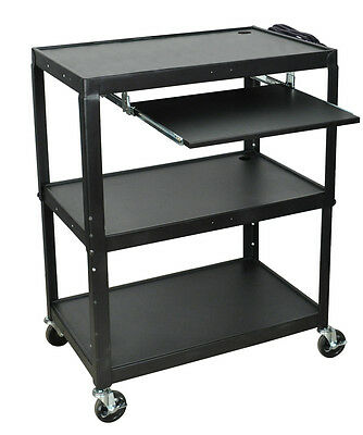 Luxor Extra Large Steel Adjustable Height Utility Cart With Keyboard Shelf Black