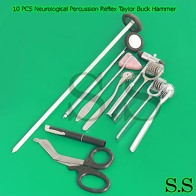 10 PCS Neurological Percussion Reflex Taylor Buck Hammer Pinwheel Diagnos DS-912