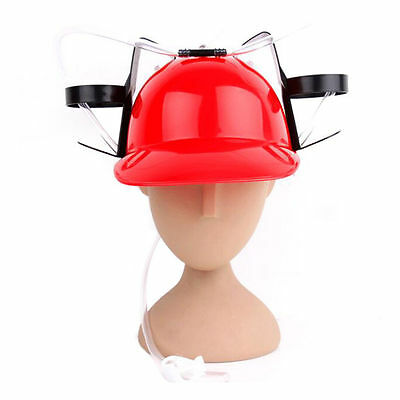 Beer Drinking Helmet Hat Game Drink Fun Party Baseball Dispenser red