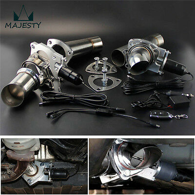 """2.5"""" Dual Exhaust Catback Downpipe Cutout Valve System + Electric Control Kit"""