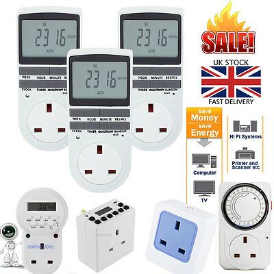 7 Day 12/24 Hour Timer Socket Programmable Digital Switch UK Plug-In LCD Display