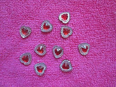 10 HEARTS with RED RESIN CENTRE FLAT BACKS