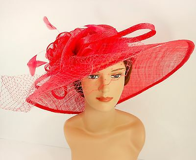 New Church Kentucky Derby Sinamay Wide Brim Dress Hat 3042 Coral